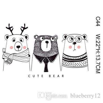 Kid Magic Sticker Cartoon Bear Dear Animal DIY Stickers para la camiseta Divertidos parches Iron-on Transfers Parches para la ropa