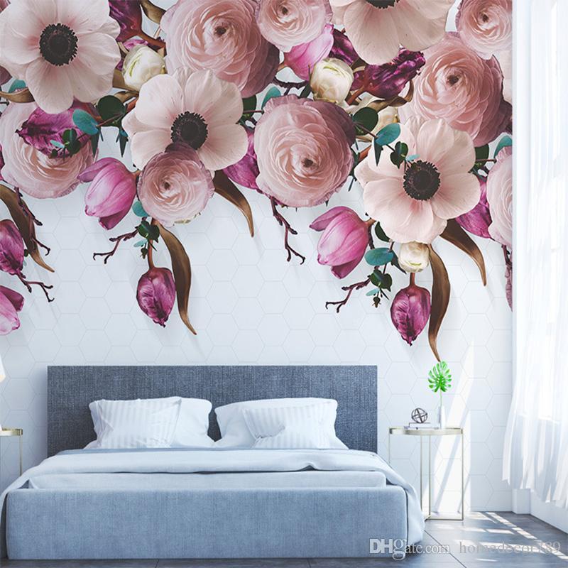 Custom Photo 3D Wallpaper Mural Hand-Painted Rose Flower Vine Modern Non-Woven Living Room TV Home Decoration Mural Wallpaper