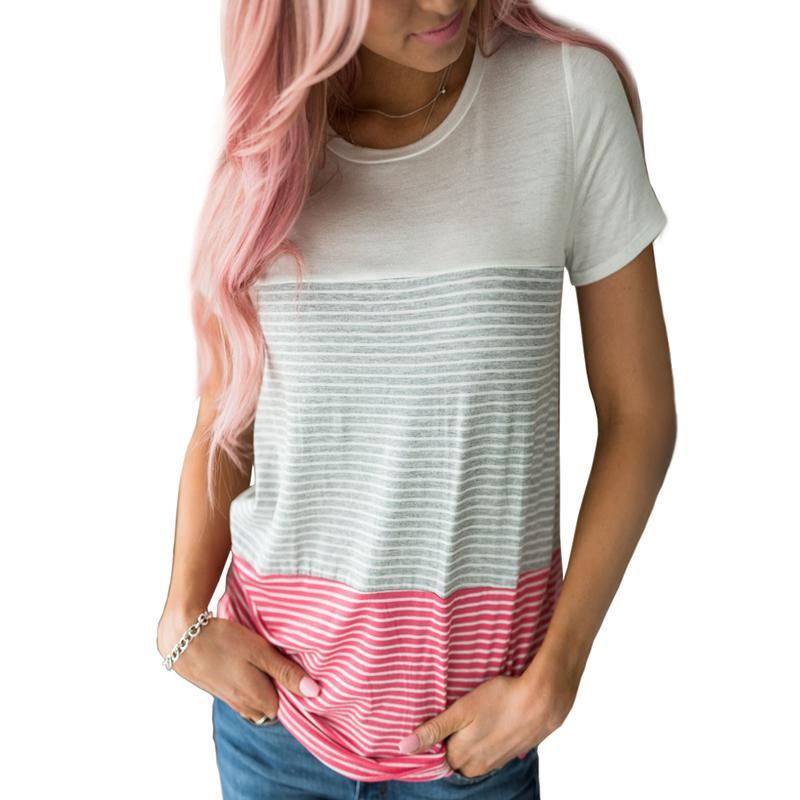 35ac7ebf1e9 Patchwork Striped Women T Shirts Girls Kawaii Tee Summer Beach Female Loose  Casual Plus Size 2XL Short Sleeve T Shirt Tops GV197 Movie T Shirts Shirt  ...