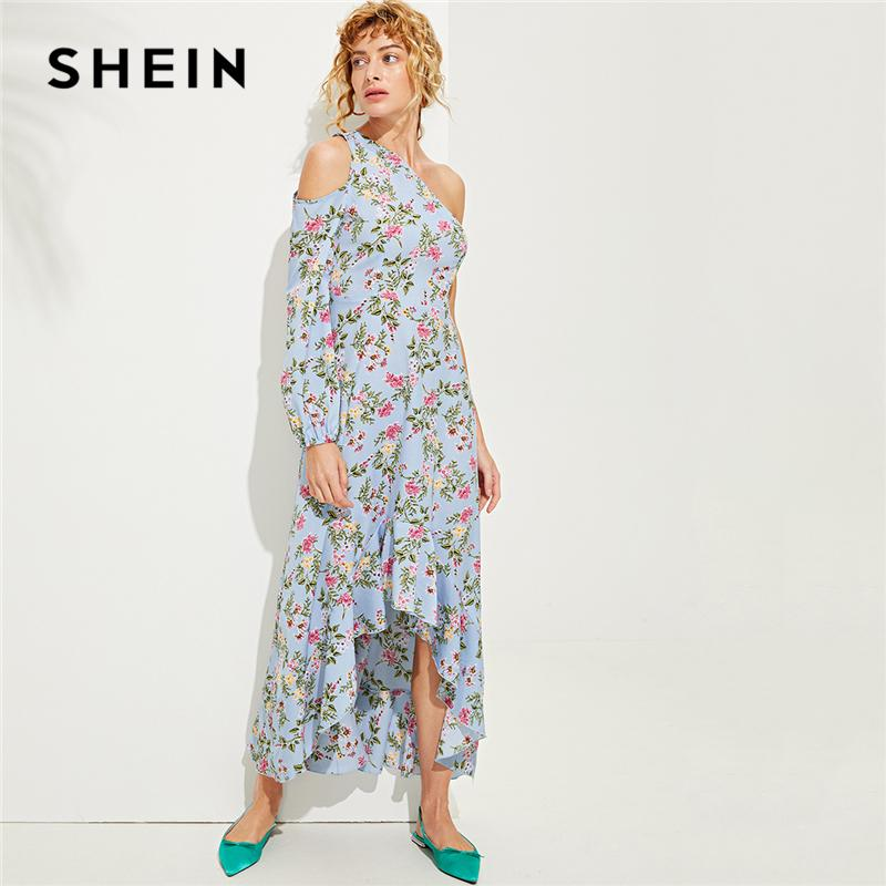 e93a68cf131330 SHEIN Blue One Shoulder Ruffle Hem Floral Dress Vacation Bishop Sleeve  Asymmetrical Maxi Dresses Women A Line Beach Dress Dress Of Woman White  Summer Lace ...