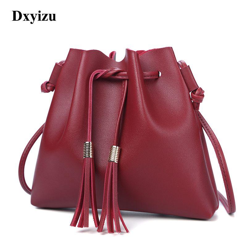 Stylish Simplicity Women Bag With Tassel Bucket Bag Women PU Leather ... 5b3bc3acd3ba7