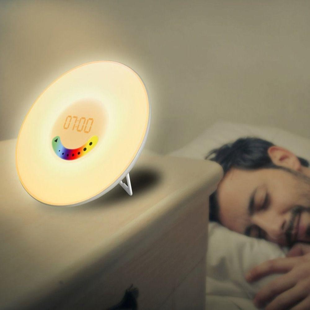 Creative Design Alarm Clock Colorful Bedroom Wake Up Digital Alarm Clock  Novelty RGB LED Sunrise Simulation Light Lamp FM Radio