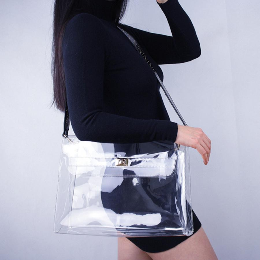 Rivet Transparent Bag Women Briefcase Clear Bag Women Shoulder Bags Strap  For PVC Big Plastic Tote Bags Designer Brands Hobo Purses Leather Bags For  Women ... 806c605778735