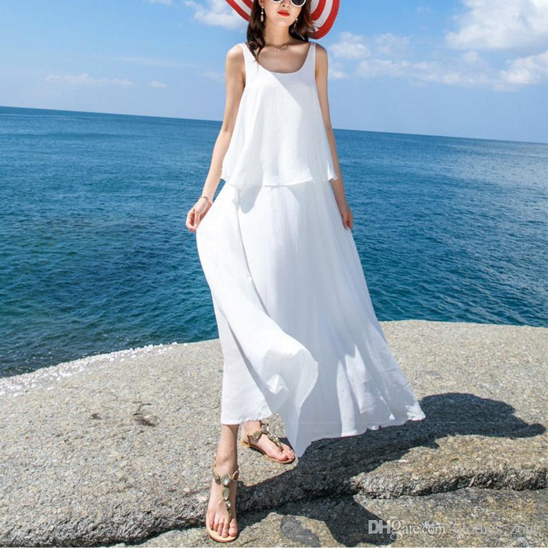 san francisco 35398 1285c Sommer neue Boho Strap lange Kleid Vestidos O Hals ärmellose Frauen  Sommerkleid weiß sexy Backless Maxi Strandkleid