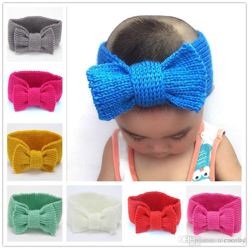 Großhandel 15 Zoll Mode Baby Mädchen Wolle Häkeln Warm Stirnband