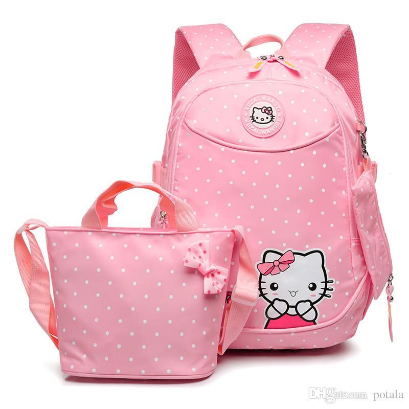 7aa12fca71 Acquista Hello Kitty Leaper Cute Laptop Zaino Bambini Scuola 40 * 30 * 15  CM BigSmall Casual Zaino Elegante Tela Borsa A Tracolla Sacchetto Di Matita  A ...