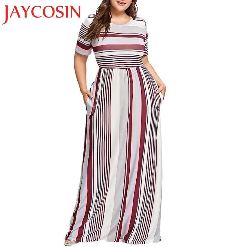 64eb011d616 2018 Dress Fashion Womens Casual Plus Size Striped Printed O Neck Short Sleeve  Long Dress Dropshipping July 30 Black Party Dress Designer Cocktail Dresses  ...