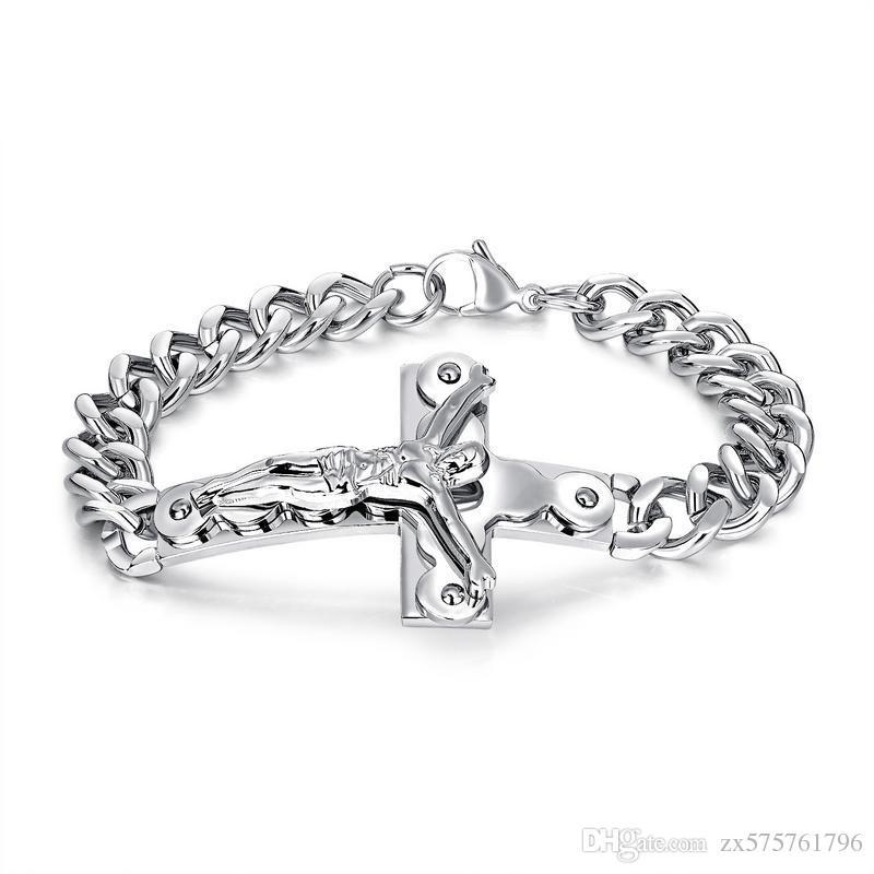 df8370a6abf9 2019 Fashion Bracelets Men Jewelry Jesus Design Punk Rock Hip Hop Gold  Silver Link Chain Stainless Steel Bracelet Men Gifts For Men From  Zx575761796