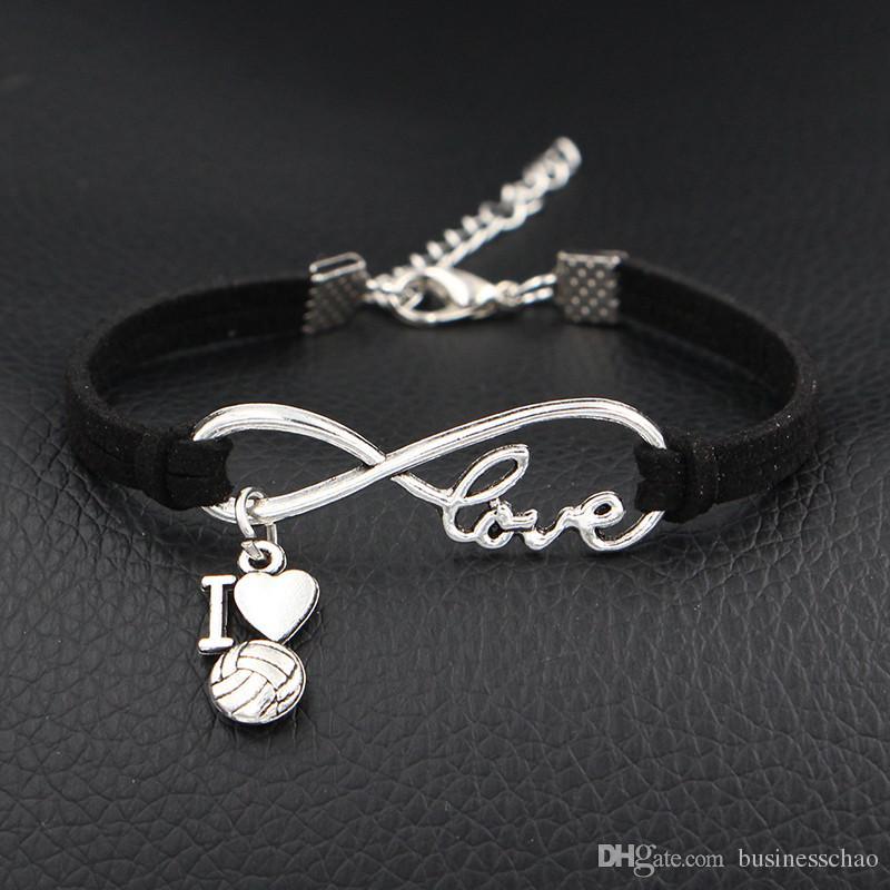 d410742d31c3 Comercio al por mayor de cuero Negro de la cadena de pulsera ajustable del  encanto brazaletes de la pulsera de la vendimia única Infinito I Love ...