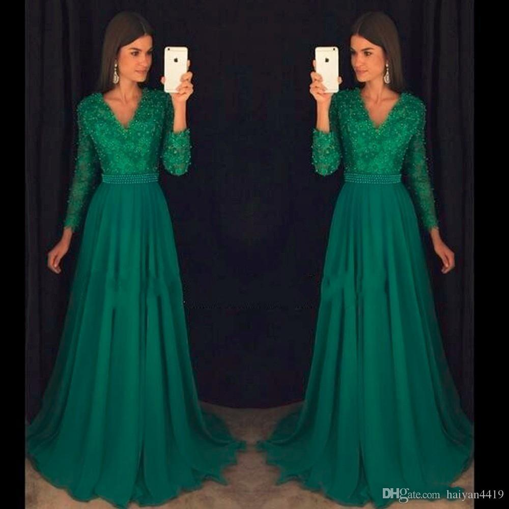 2020 Formal Emerald A Line Prom Dresses V Neck Lace Appliques Chiffon Beading Crystal 3/4 Long Sleeves Sweep Train Evening Party Gowns