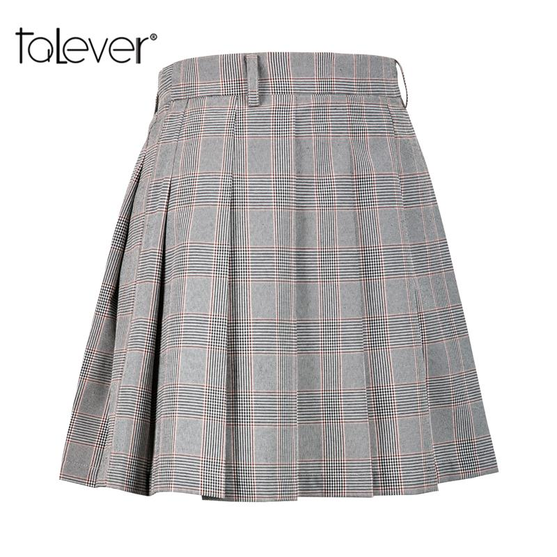 e4289b8852e 2019 Women High Waist Plaid Pleated Skirt Female Casual Gray Mini Cotton Skirt  Fashion Women Party Short Skirts Plus Size Talever From Vanilla06