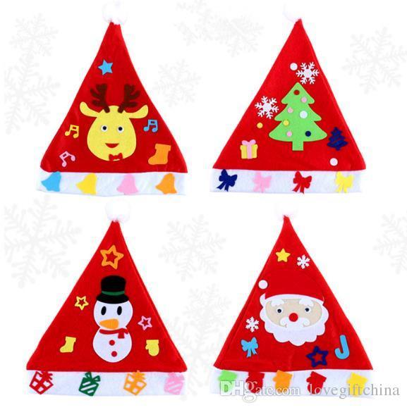 funny diy christmas hat kindergarten handmade kits cartoon nonwovens educational toys creative childrens christmas decorations gifts diy christmas hat diy - Funny Homemade Christmas Gifts
