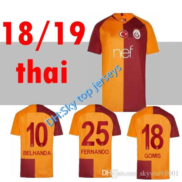 2019 2018 2019 Galatasaray Soccer Jerseys Home GOMIS Champions League 2018  2019 CIGERCI BELHANDA FERNANDO FEGHOULI FOOTBALL SHIRTS THAILAND QUALI From  ... 1fd8bcd3f