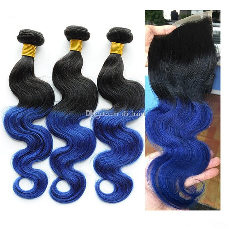 Two Tone 1B Blue Ombre Indian Hair and Closure Black to Blue Body Wave Ombre Human Hair Weaves 3 Bundles with Lace Closure