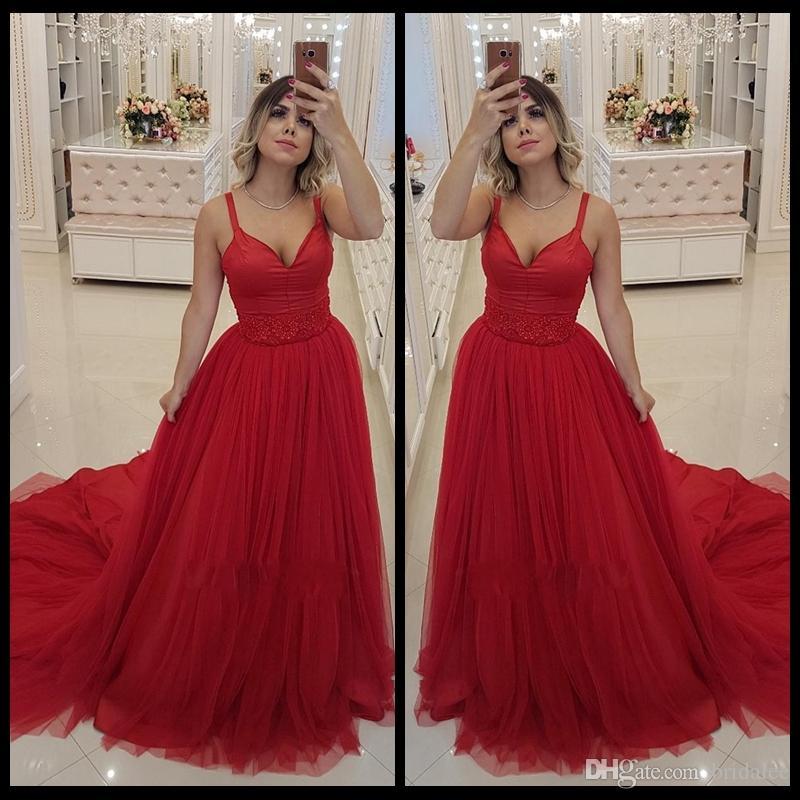 c8c6baba1cb Elegant Red V Neck Arabic Long Prom Dresses Tulle Satin Beaded Middle East  Appliques Beaded Formal Prom Gowns Robe De Bal Evening Dresses Prom Dresses  ...