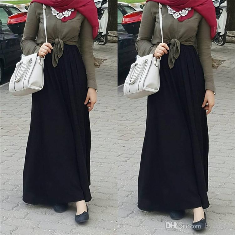 Shanel Latest Muslim Women Maxi Skirt Summer Multi Color Ankle Length Islamic Chiffon Skirt A-Line Maxi Skirt