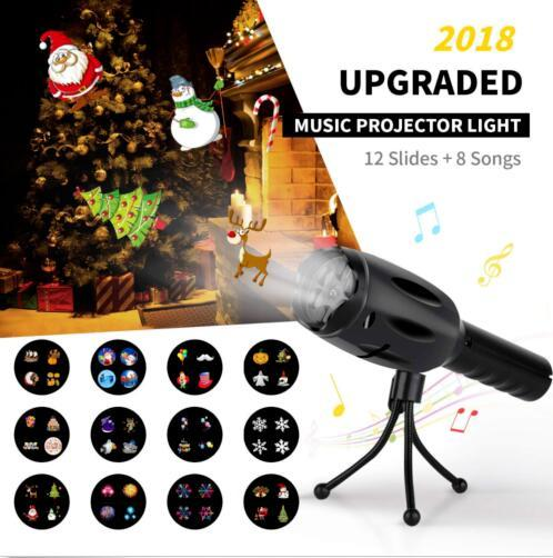 Music LED Projector Flashlight 8 Songs 12 Slides Battery Operated LED Christmas Snowflake Handheld Flashlight Lamp Christmas Toys OOA5939