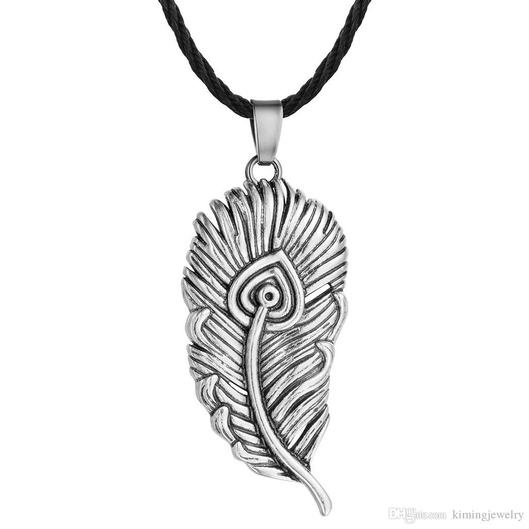5 pz / lotto Pendente della Piuma del Uccello-uccello Collana Argento Antico Feather Forma di Fascino Norrore Slavic Colier Mens Mens Ragazzi Gioielli