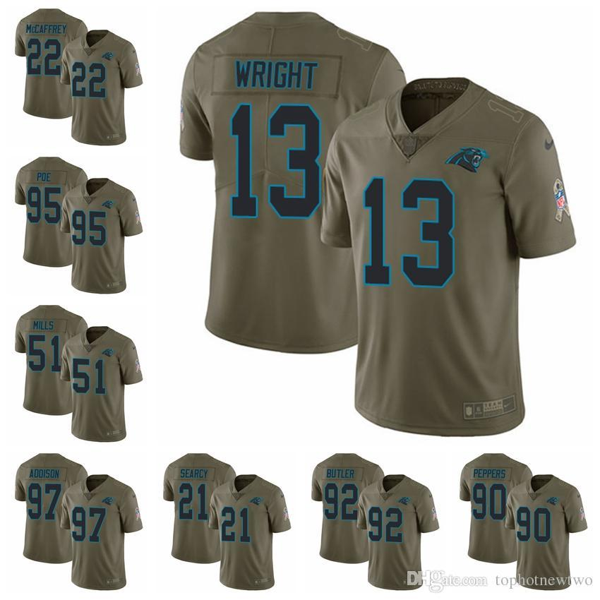 aefeb096f 2018 Carolina Limited Football Jersey Panthers Olive 2017 Salute To Service  22 Christian McCaffrey 1 Cam Newton 59 Luke Kuechly 12 From Jerseyptb8