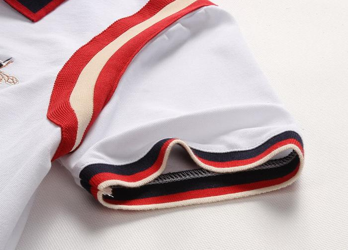 Polo Shirt Men Bee Applique Embroidery Striped Sleeves Comfortable Tops 2018 Summer Hot Sale Short Wear Top Men's