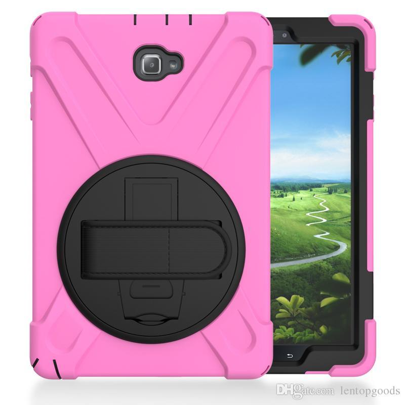 Heavy Armor caso capa de silicone à prova de choque com suporte e alça de pulso para Samsung Galaxy Tab A A6 10,1 P580 P585 Tablet + Pen