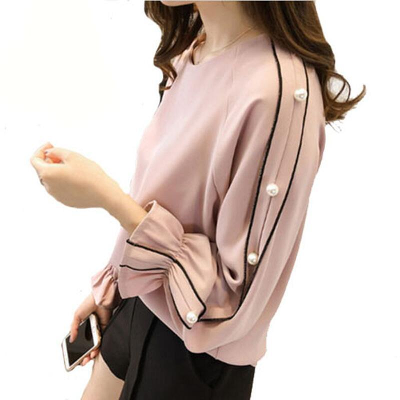 ed9c1d0ed54ba1 Plus Size Chiffon Shirt Female Blusa Beaded Tops 2019 Spring Long Sleeved  Solid Color Women Clothing Women Blouse Top Shirt Online with  29.41 Piece  on ...