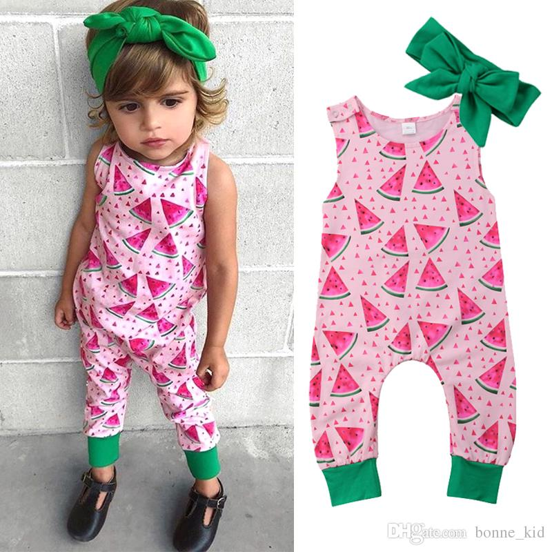 1254b427d43 2019 Newborn Baby Girl Summer Watermelon Romper Headband Pink Green Jumpsuit  Sleeveless Cotton Geometric Bodysuit Outfit Kid Clothing Set 0 24M From ...