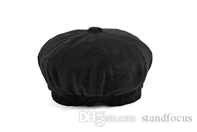 Stand Focus Women Cabby Baker Boy Gatsby Velvet Hat Newsboy Cap Ladies Fashion Fall Winter Spring Black Gray