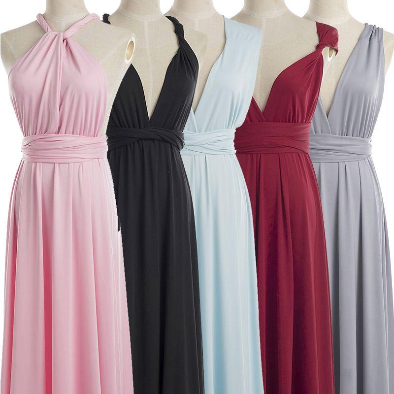 6ecc8f3e4dd12 Summer Beach Multicolor Bridesmaid Dresses Mixed Style Flow Chiffon Boho  Cheap Wrap Sexy Stretch DIY Floor-length Dress Evening Wear Halter