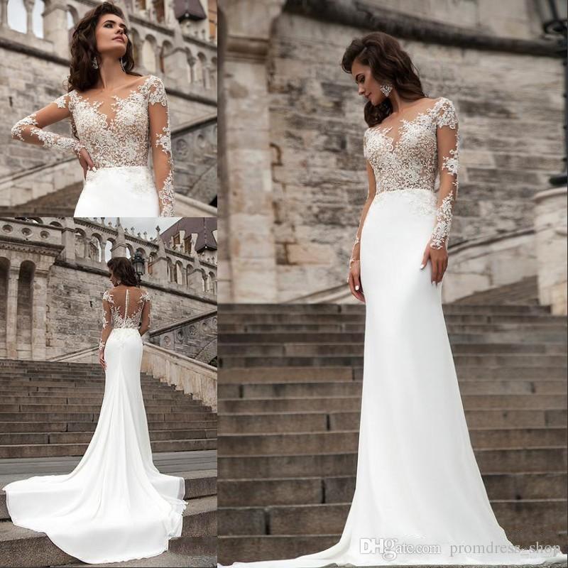 df330ee2ba3 Discount 2019 Millanova Bohemian Sexy Lace Sheer Long Sleeves Mermaid  Wedding Dresses Beach Sweep Train Appliqued Sheer Back Bridal Gowns Ball Gowns  Wedding ...