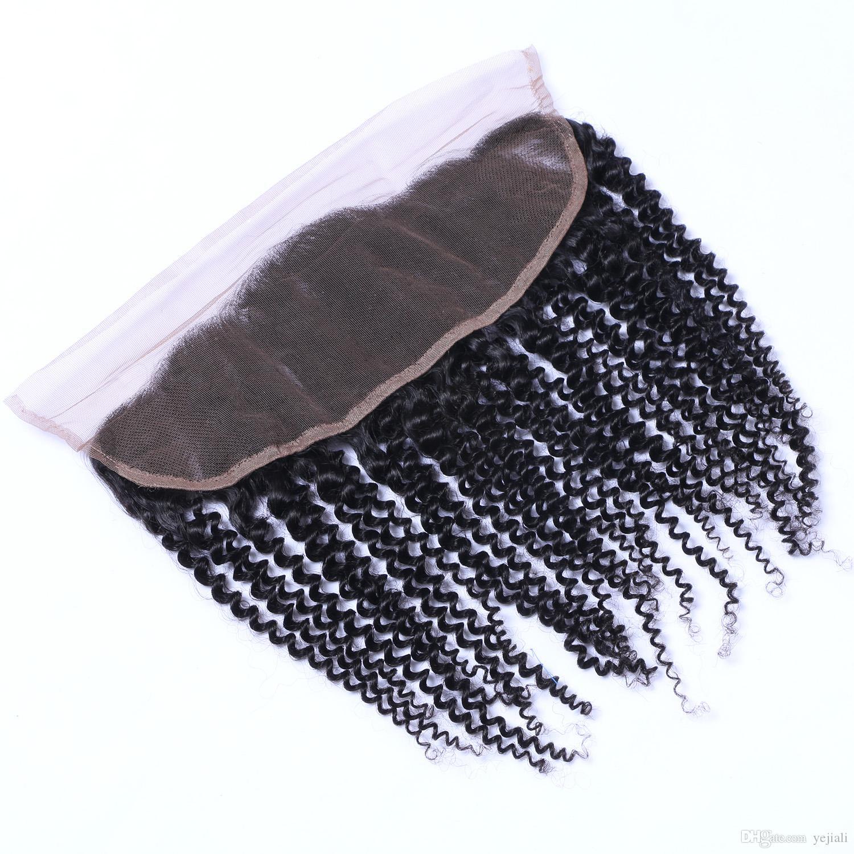 Brezilyalı Kinky kıvırcık 13x4 Dantel Frontal Kapatma Ile Bebek Saç Remy İnsan Saç Kulak Öncesi Koparıp Ücretsiz Bölüm