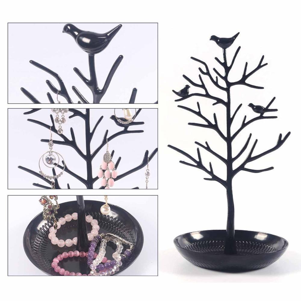 Torre dell'orologio dell'organizzatore dell'albero dei monili del supporto del braccialetto dei monili dell'albero di uccelli dell'orologio da tavolo nero dell'albero