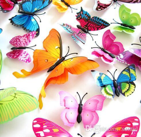 Adhesivos de pared de mariposa de color 3D de mezcla aleatoria Calcomanías de pared para la decoración del hogar o para la fiesta de Halloween Suministros surtidos Tamaño