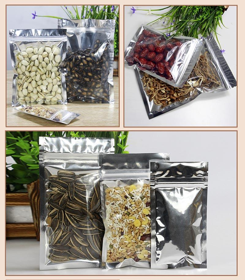 Clear Aluminum Foil Bag Silvery Metallic Plastic Packaging Baggies Pouch for Food Tea Candy Cookie Baking Tobacco Herb