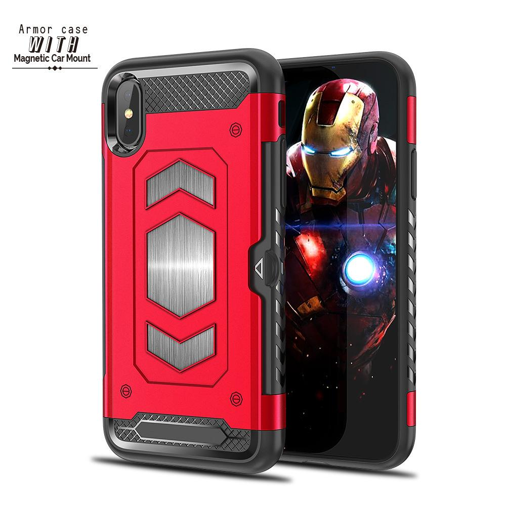 2018 New Arrival Armor Case With Magnetic Car Mount Phone Case With Slot Card For iPhoneX 8 Plus 7 plus 6S Shockproof 42606