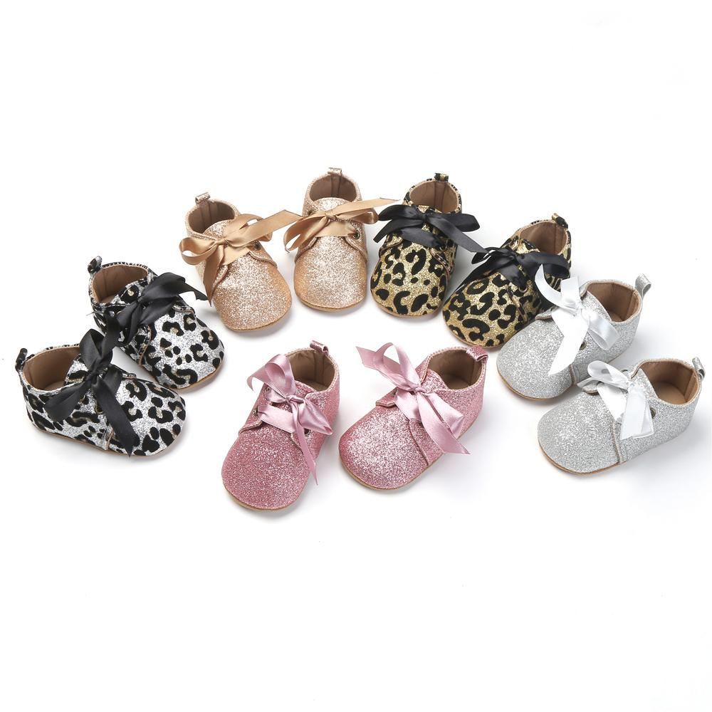 9d4d0067d9b4 2019 New Infant Baby Girls Bling Glitter Trainers Soft Sole Pram Shoes  Leopard Bow Baby First Walkers Shoes 0 18M From Tobebetter2018, $5.38 |  DHgate.Com
