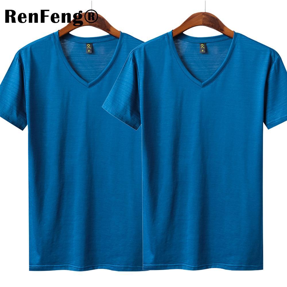 0f8fb6062b8 Men Basic T Shirt Natural Silk V Neck Solid Shirt Short Sleeve Tops Mens  Silk Sexy Top Blank Blue Black 2018 New Spring Summer Crazy Tee Shirts  Online Cool ...