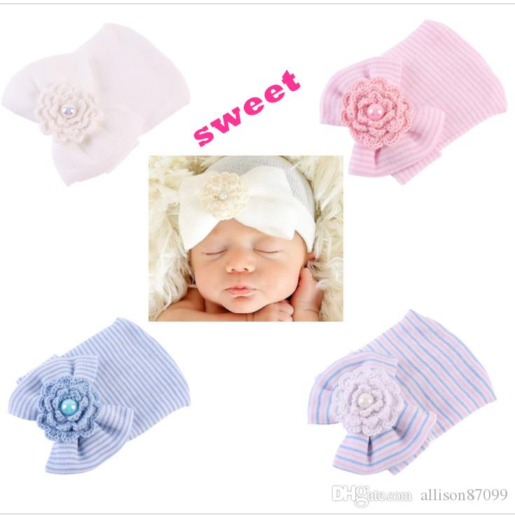 87a1ac388bd 2019 Baby Girl Hair Bow Hat Twins Infants Knit Beanie Caps Crochet Flower  Cotton Maternity Baby Accessories Spring Fall Winter Wholesale 0 3month  From ...