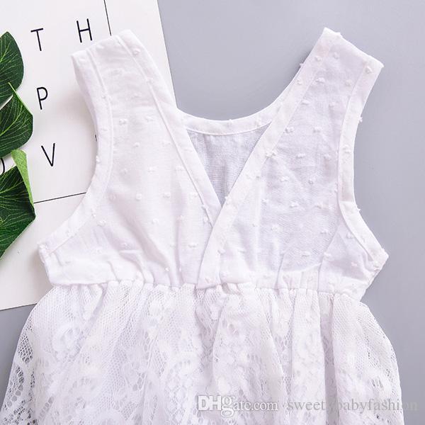INS Hot Baby Mädchen Spitze Strampler Baumwolle Spitze Trikot Baby Kind Klettern Schwarz / Weiß Infant Overall Sommer Backless Babys Kleidung KA606