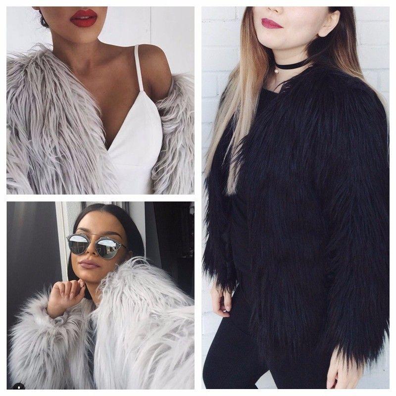 b2f22760e9862 New Women Winter Faux Fur Coat Women Long Sleeve Chic Warm Short ...