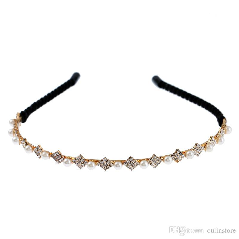 Großhandel Frauen Mädchen Strass Perlen Stirnband Hariband Headwear ...