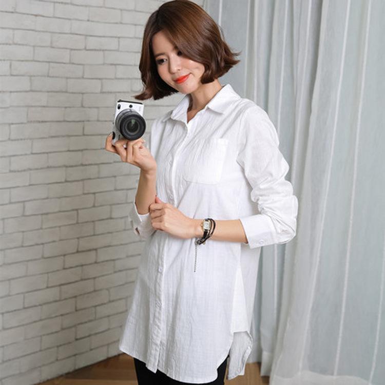 d7a88fed3 nueva primavera de maternidad de algodón y lino camisas de manga larga más  el tamaño de las mujeres camisas embarazadas blusa ropa de maternidad ...