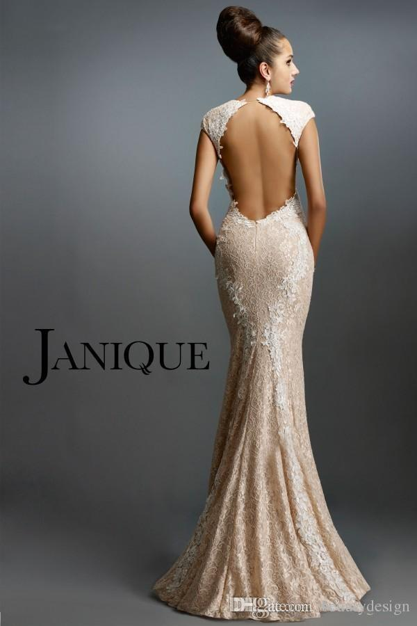 2018 Janique Formal Dresses Evening Sexy V-Neck Cap Sleeve Champagne Lace Appliques Mermaid Prom Formal Party Evening Dresses