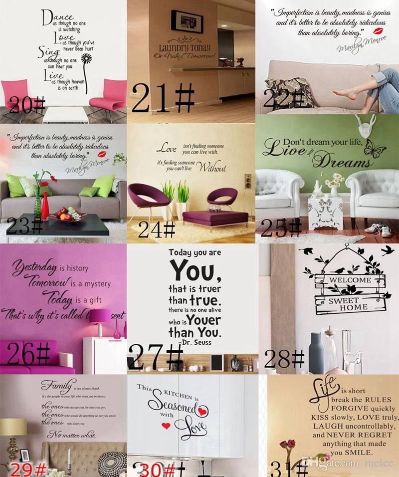 Orden mixta 200 Estilos Cotizaciones Pegatinas de pared Calcomanía Palabras Letras Decir Decoración de la pared Pegatina Vinilo Wallpaper Arte Pegatinas calcomanías