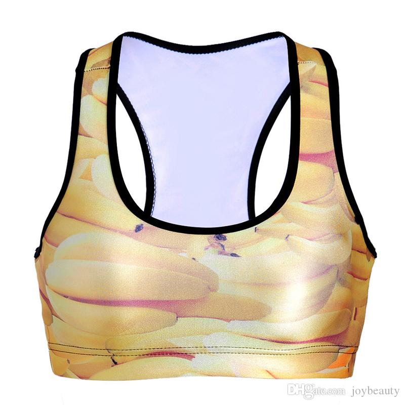 Women Sports Bra Banana 3D Graphic Print Yoga Gym Fitness Runner Running Sportwear Digital Bras Push Up Crop Tops Tank Vest RLSsb-0084)