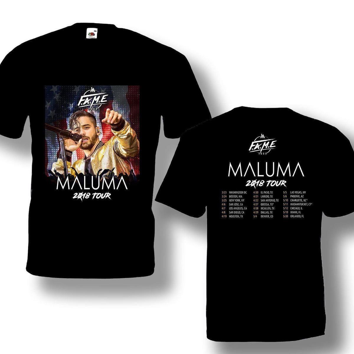 03996f5f1 Compre Maluma Fame Tour 2018 Camiseta Con Fecha De Viaje Color Negro Nuevo  Diseño A  12.08 Del Amesion10ljl