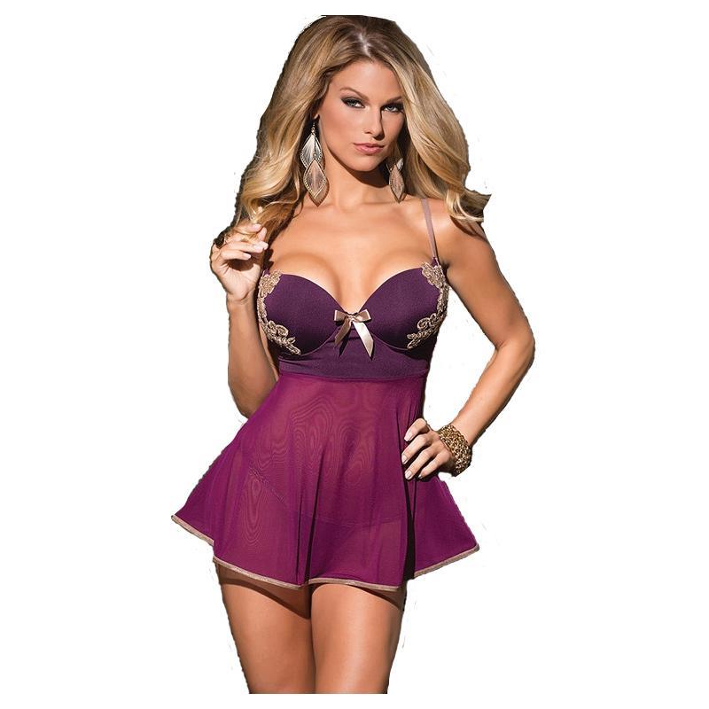 0a9ac632b ... Transparente Bordado Fishnet Patchwork Roxo Sleepwear Plus Size Trajes  Sexy Sheer Robe PSQ3290 Y18102206 Pijamas Atacado De Gou06