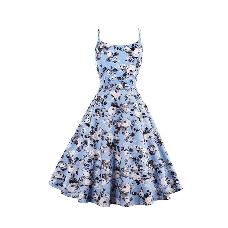 2019 New Summer Tank A Line Vintage Dresses Print Floral 1950s Style  Elegant Party Dress O Neck Sleeveless Pretty Retro Dresses