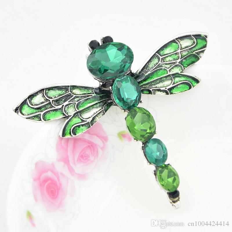 Fantastic Vintage Sliver Color Glass Crystals Brooch Lovely Dragonfly Lapel Pin For Men and Women Hot Selling Girls Jewelry Gift Brooch Pins