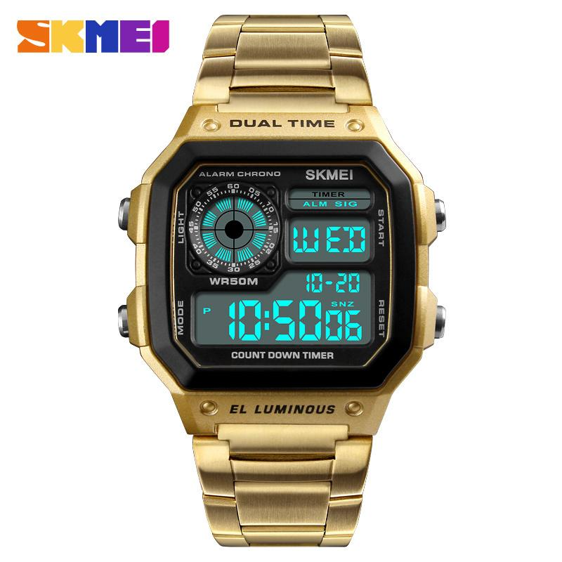 3aebe56386ea Compre Skmei Reloj Digital Para Hombre Deporte Marca De Fábrica De Lujo  Reloj De Pulsera Electrónico Hombres Impermeable Multifunción Oro Metal  Relogio ...